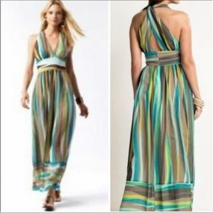 Banana Republic 100% Silk Stripe Maxi Dress Sz 4
